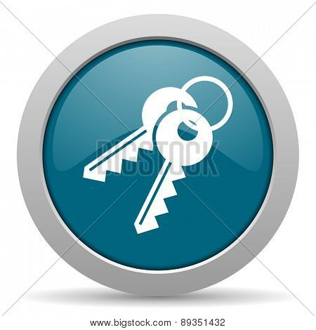 keys blue glossy web icon