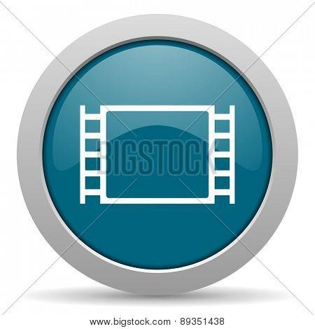 movie blue glossy web icon