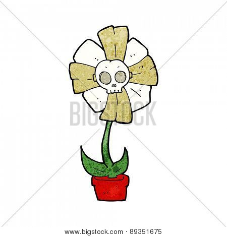 cartoon skull flower