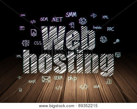 Web design concept: Web Hosting in grunge dark room