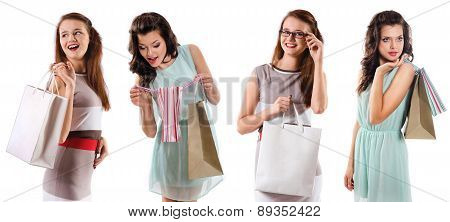 Smiling Women Holding Shopping  Bag