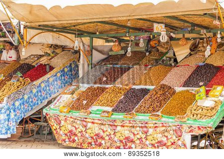 MARRAKESH, MOROCCO, APRIL 3, 2015: Jemaa el-Fnaa square - stand with dried fruits and nuts