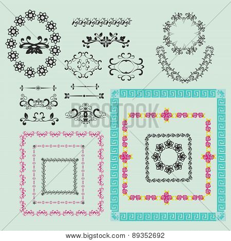 Set Of Vintage Floral Frame And Element For Design