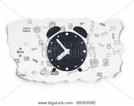 Timeline concept: Alarm Clock on Torn Paper background