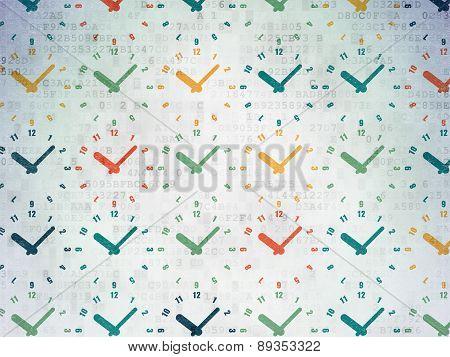 Timeline concept: Clock icons on Digital Paper background