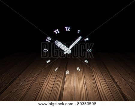 Time concept: Clock in grunge dark room