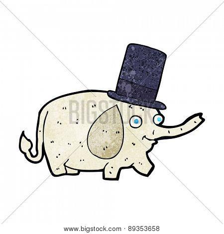 cartoon elephant wearing top hat
