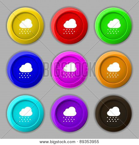 Snowing Icon Sign. Symbol On Nine Round Colourful Buttons. Vector