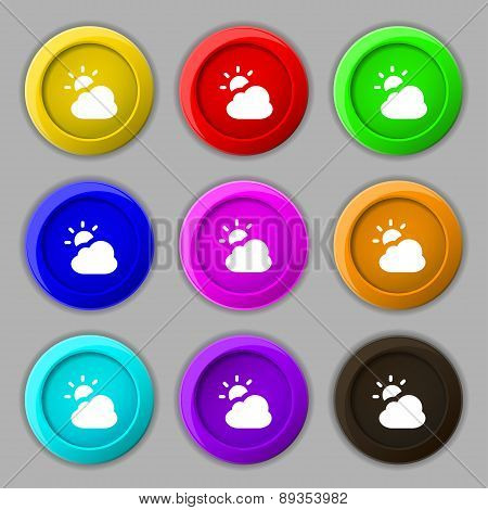 Weather Icon Sign. Symbol On Nine Round Colourful Buttons. Vector
