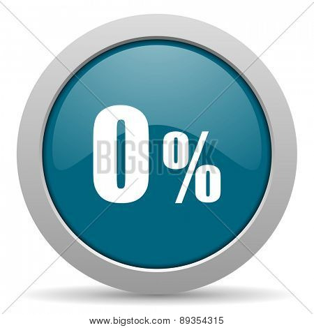 0 percent blue glossy web icon