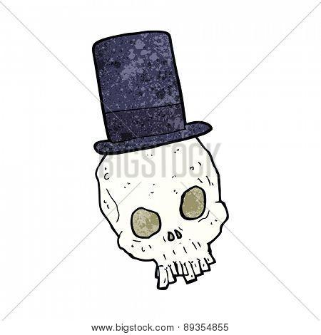 cartoon skull wearing top hat