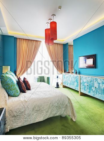 Hangzhou,China-April 22,2014:China decorated bedroom interior of Dragon Hotel.