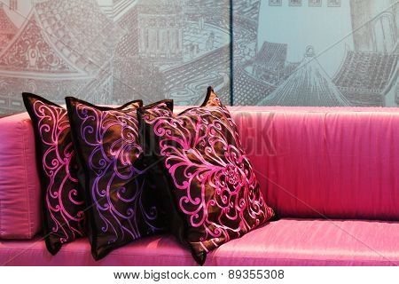 Hangzhou,China-April 22,201:chinese style pillows in Dragon Hotel