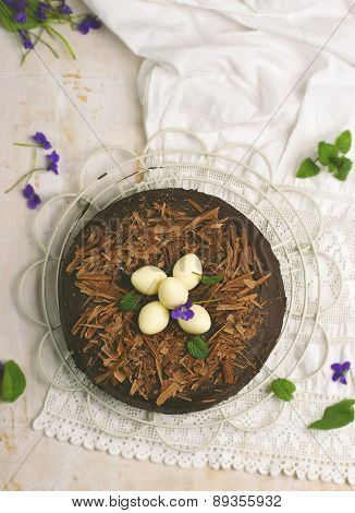 Chocolate Cake With An Easter Decor