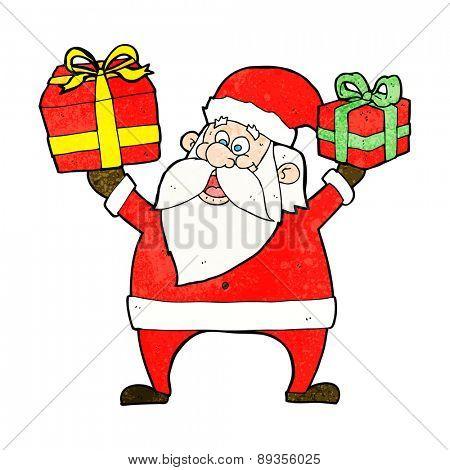 cartoon santa claus with presents