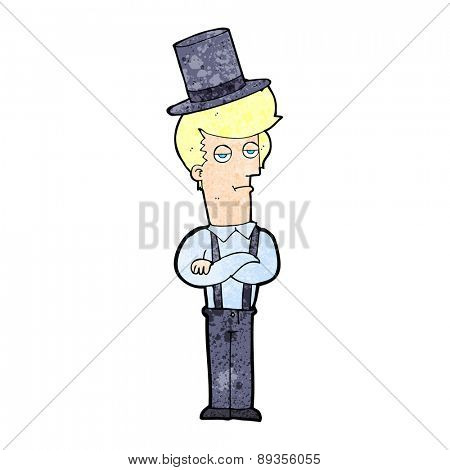 cartoon man wearing braces and top hat