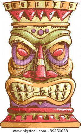 An Illustration of an Ancient Tiki Head Design