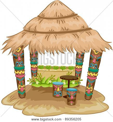 Illustration of a Tiki-themed Hut with Tiki Face Stools and Support Posts
