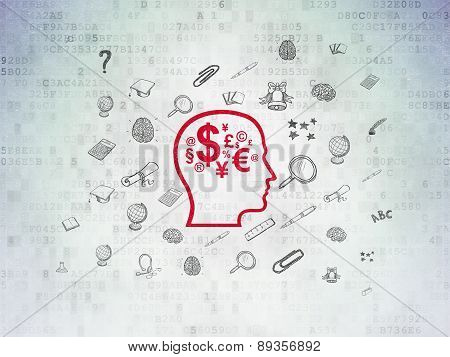 Education concept: Head With Finance Symbol on Digital Paper