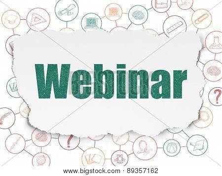 Education concept: Webinar on Torn Paper background