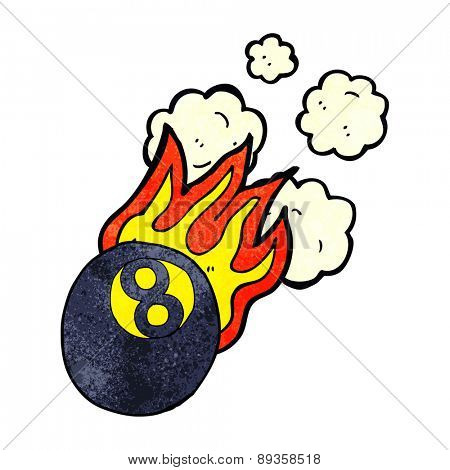cartoon flaming pool ball