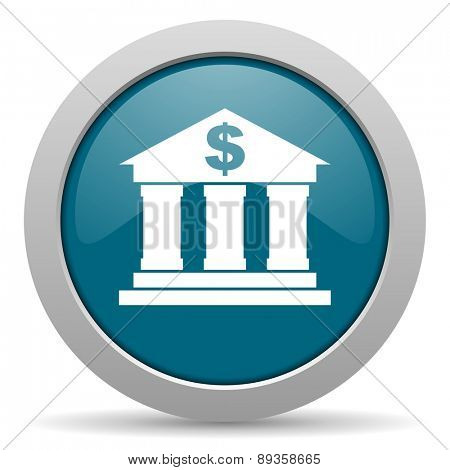 bank blue glossy web icon