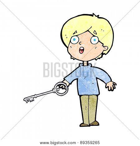 cartoon boy with key