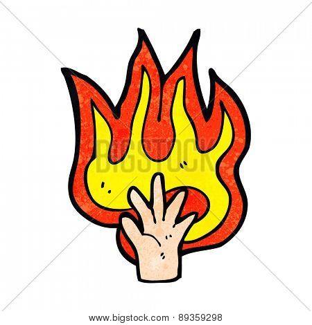 cartoon flaming hand symbol