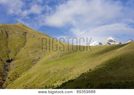 snowy mountains in the Ordesa National Park, Spain