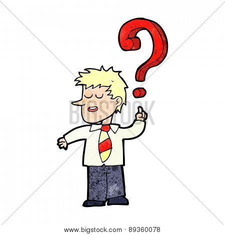 cartoon school boy asking question