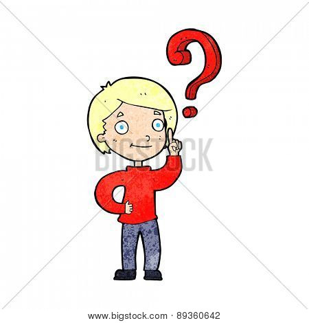 cartoon boy asking question