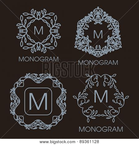 Vector set of outline emblems and badges - abstract hipster logo templates. Vintage design.