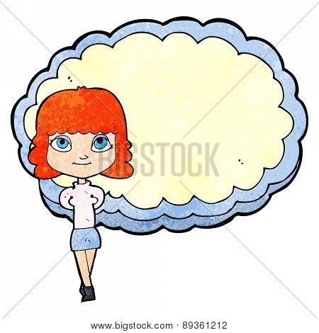 cartoon woman in front of cloud with space for text
