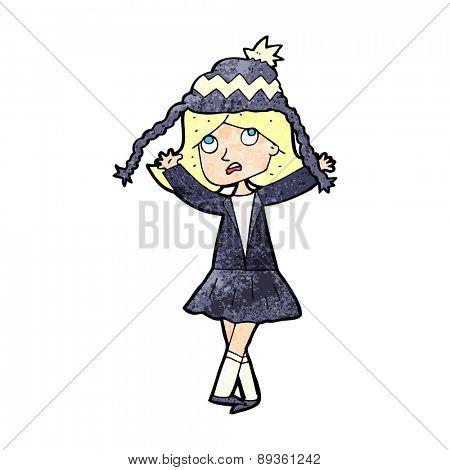 cartoon woman wearing winter hat