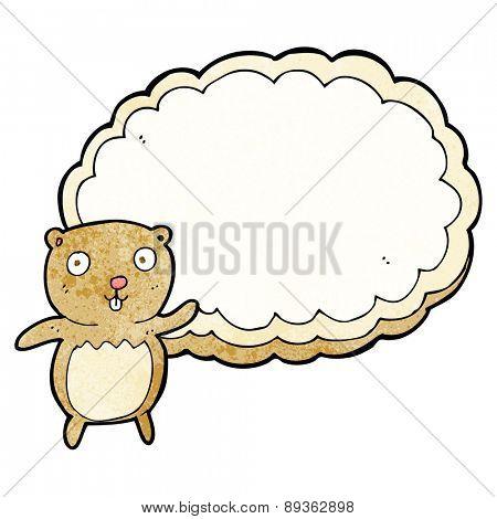 cartoon bear with text space cloud