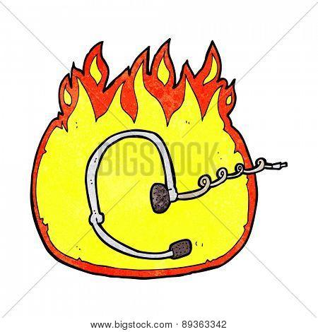 burning call center headset cartoon