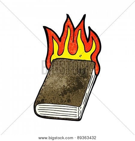 cartoon burning book
