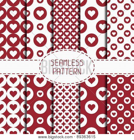 Set of red romantic geometric seamless pattern with hearts. Collection of wrapping paper. Scrapbook