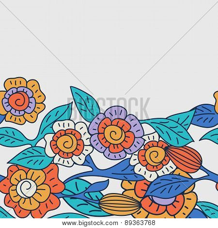 Vector Seamless Doodle Floral Background With Decorative Flowers. Hand Drawn Nature Multicolor Backg
