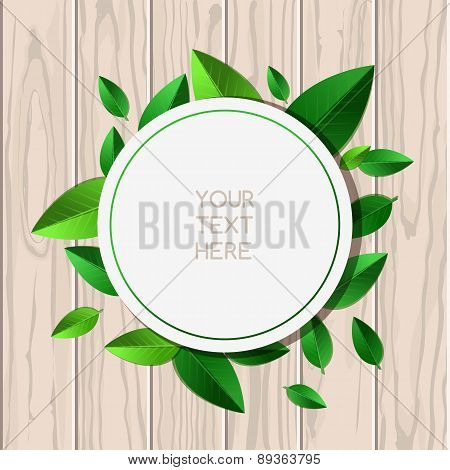Natural Wooden Texture Background And Round Green Leaf Frame With Place For Text. Vector Spring And