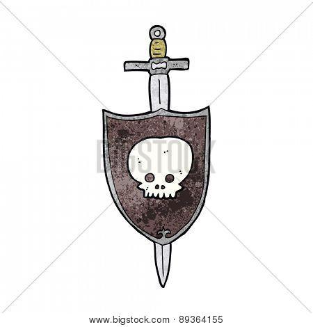 cartoon sword and shield with skull