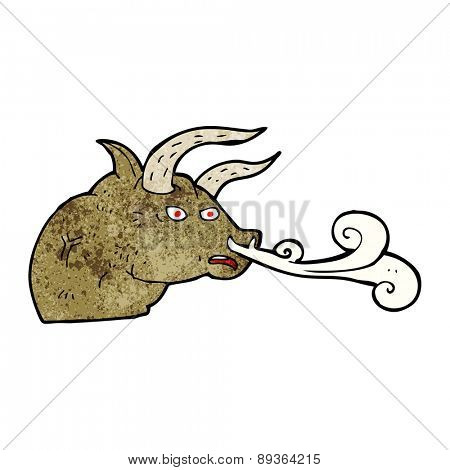 cartoon snorting bull head