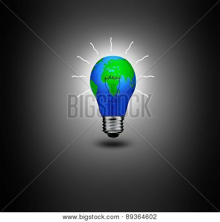 Earth In Light Bulb Isolated On A Black Background