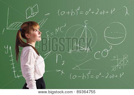 Scoolgirl in the classroom