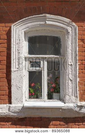 Old Window With Red Brick Wall
