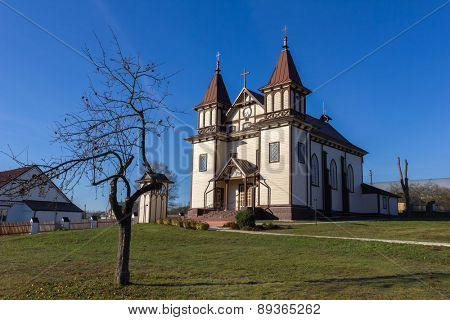 St. George's Catholic Church in Polonechka (Poloneczka), Belarus. Built in 1751, rebuilt in 1899 in Gothic Revival style.