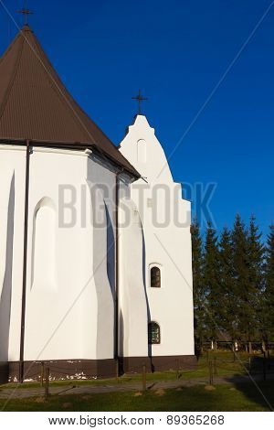 Catholic Church in Ishkold (Iszkoldz), Belarus. Built in 1472 in Gothic style.