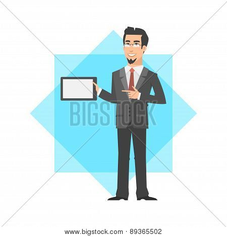 Businessman holding tablet and smiling