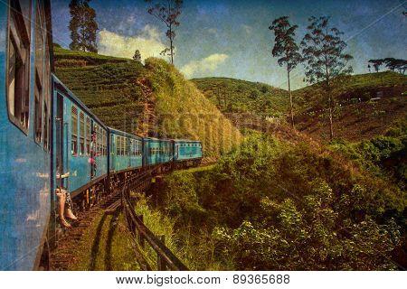 train from Nuwara Eliya to Kandy among tea plantations in the highlands of Sri Lanka - vintage photo