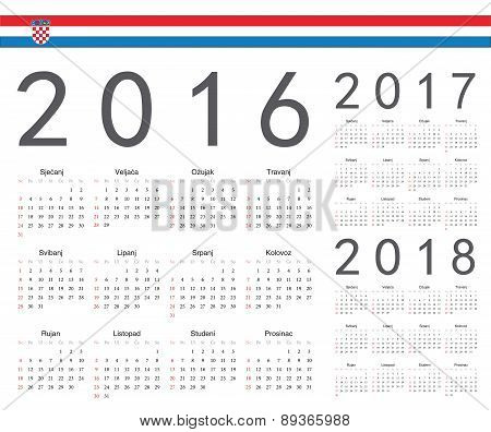Set Of Croatian 2016, 2017, 2018 Year Vector Calendars